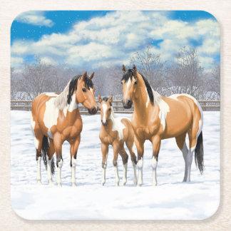 Buckskin Paint Horses In Snow スクエアペーパーコースター