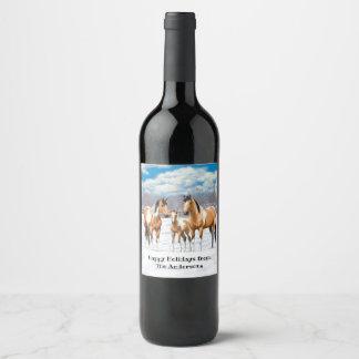 Buckskin Paint Horses In Snow ワインラベル