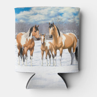 Buckskin Paint Horses In Snow 缶クーラー