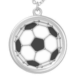 Buckyballのサッカーのネックレス シルバープレートネックレス