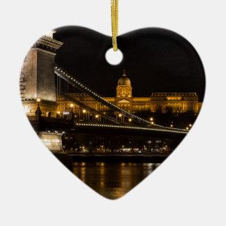 Budaの城ハンガリーブダペストが付いている鎖式吊り橋 セラミックオーナメント