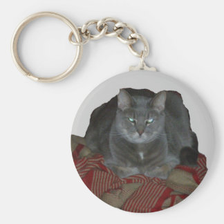 Buddahの灰色の気難しい猫Keychain キーホルダー
