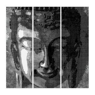 Buddhasの微笑の顔-明暗中間部の黒 トリプティカ