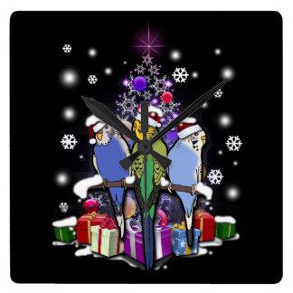 Budgerigars with Christmas Gift and Snowflakes スクエア壁時計