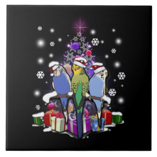 Budgerigars with Christmas Gift and Snowflakes タイル