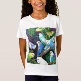Budgieのインコおよびシダの女の子のベビードールのワイシャツ Tシャツ