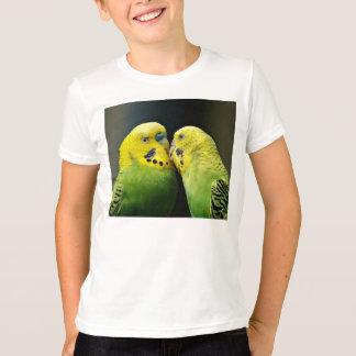 Budgieのオウムの鳥の接吻 Tシャツ