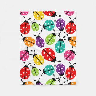 Bug Seamless Patternカラフルでかわいい女性 フリースブランケット