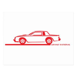 Buickのグランドナショナルの赤車 ポストカード