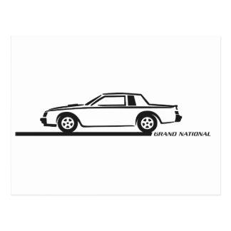 Buickのグランドナショナルの黒車 ポストカード