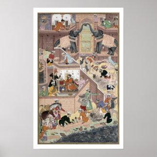buildinを点検する皇帝Akbar (r.1556-1605) ポスター