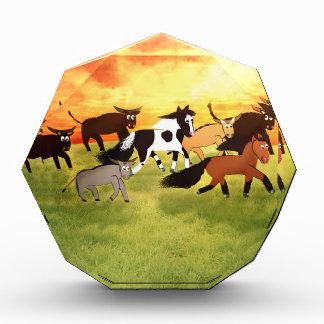 Bullと走っている漫画の馬 表彰盾
