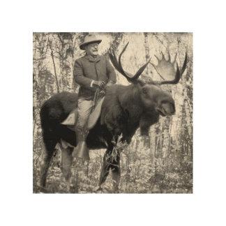 Bullのアメリカヘラジカに乗っているTeddy Roosevelt ウッドウォールアート