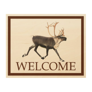 Bullのカリブー(Reideer) -歓迎 ウッドウォールアート