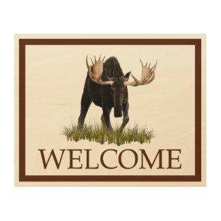 Bullの充満アメリカヘラジカ-歓迎 ウッドウォールアート