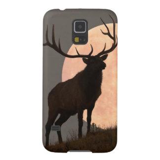 Bullの威厳のあるなオオシカおよび満月の上昇 Galaxy S5 ケース