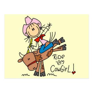 BullのTシャツおよびギフトに乗っている棒の女性のカーボーイ ポストカード