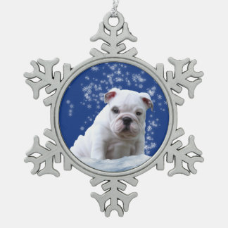Bulldog Puppy Christmas Pewter Snowflake Ornament スノーフレークピューターオーナメント