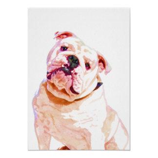 Bulldog Watercolor Portrait 5x7 Print カード