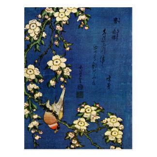 Bullfinchおよび垂れるさくらんぼ ポストカード
