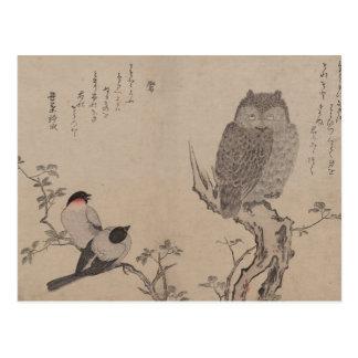Bullfinchおよび角状フクロウ-北川町Utamaro ポストカード
