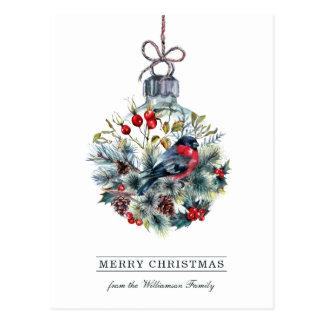 Bullfinchのガラス玉のクリスマスの郵便はがき ポストカード