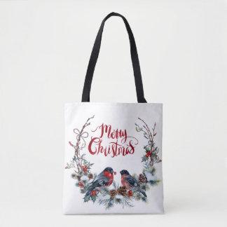Bullfinchesはメリークリスマスを包みます トートバッグ