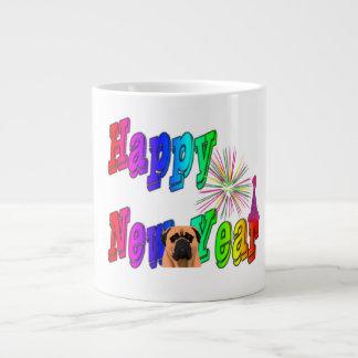 Bullmastiffの新年のジャンボマグ ジャンボコーヒーマグカップ