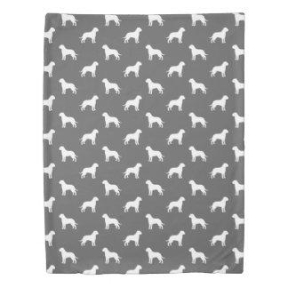 Bullmastiffはパターン灰色のシルエットを描きます 掛け布団カバー