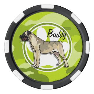 Bullmastiff; 若草色の迷彩柄、カムフラージュ ポーカーチップ