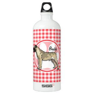 Bullmastiff; 赤と白のギンガム ウォーターボトル