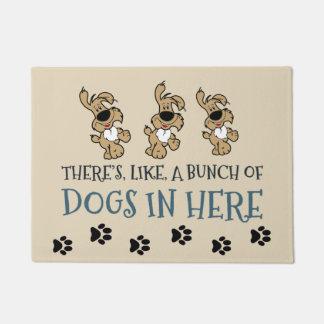 """Bunch of Dogs in Here 18"""" x 24"""" Door Mat ドアマット"""