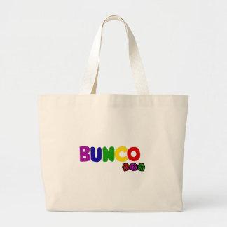 Buncoおよびサイコロのカラフルな芸術 ラージトートバッグ