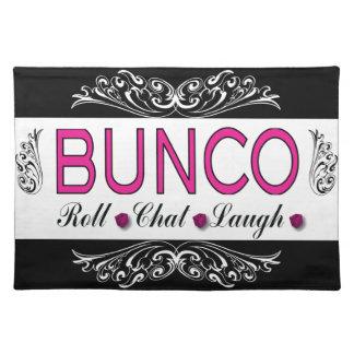 Buncoのロール、雑談、白黒ピンクの笑い ランチョンマット