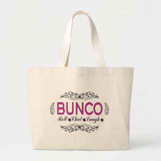 Buncoのロール、雑談、白黒ピンクの笑い ラージトートバッグ