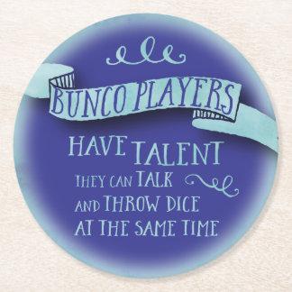 Buncoプレーヤーに才能-水色のスタイル--があります ラウンドペーパーコースター
