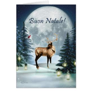 Buon Natale -イタリアンなクリスマスの冬のシカカード カード