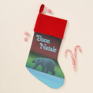 Buon Natale -極光の白くま クリスマスストッキング