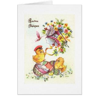Buona Pasqua! ヴィンテージのイタリア人のイースターカード カード