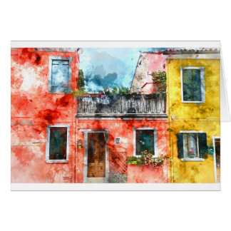 Buranoの島ベニスイタリアのカラフルな家 カード