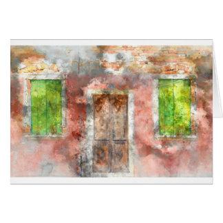 Buranoの島ベニスイタリアの多彩な家 カード