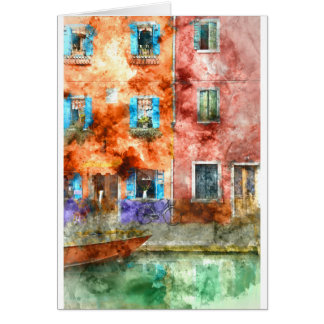 Buranoの島、ベニスのカラフルな家 カード