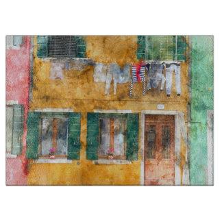 Buranoイタリアの建物のClothesline カッティングボード