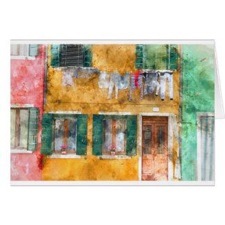 Buranoイタリアの建物のClothesline カード