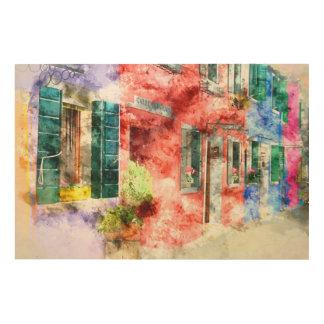 Buranoイタリアの建物 ウッドウォールアート