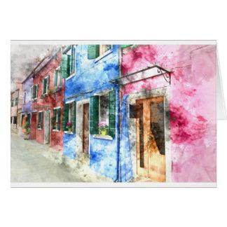 Buranoイタリアの建物 カード