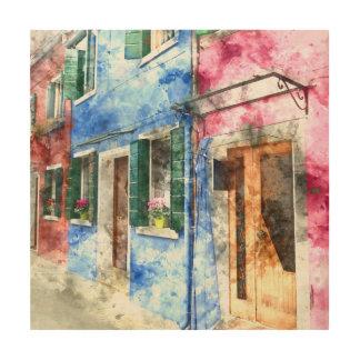 Buranoイタリアの建物-デジタル芸術の水彩画 ウッドウォールアート