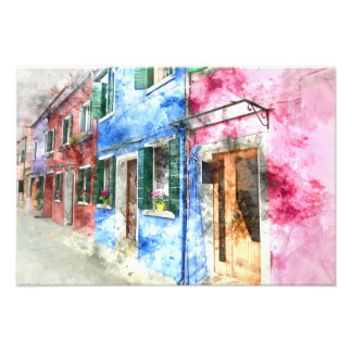 Buranoイタリアの建物-デジタル芸術の水彩画 フォトプリント