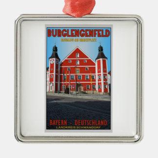 Burglengenfeld - Rathaus シルバーカラー正方形オーナメント