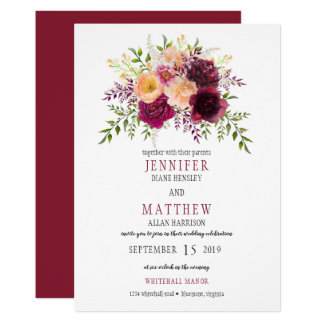 Burgundy and Peach Watercolor Floral Wedding | カード